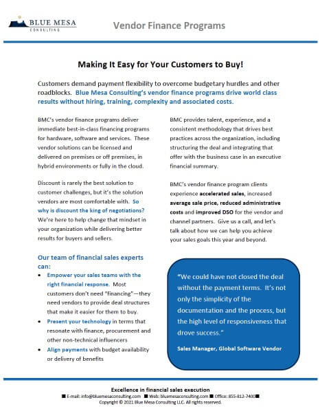 Blue Mesa Consulting | Download Resource | Vendor Finance Programs